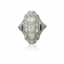 Art Deco Platinum Diamond Sapphire Filigree Ring