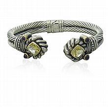 14K Gold Sterling Silver Citrine Amethsyt Cuff Bracelet