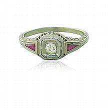 Art Deco 18k Gold Diamond Ruby Filigree Ring