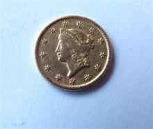 1849 Liberty Head 1 One Dollar Gold US Coin