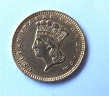 1856 Indian 1 One Dollar Gold Coin