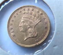 1857 Indian 1 One Dollar Gold US Coin