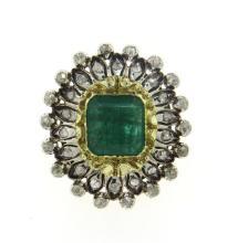 Large 18k Gold Silver Diamond Emerald Ring