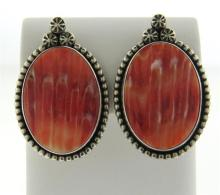Native American Sterling Coral Earrings