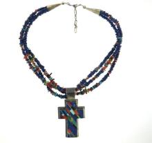Native American Sterling Coral Opal Lapis Cross Necklace