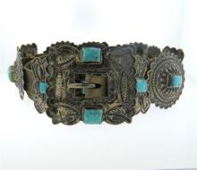 Native American Sterling Turquoise Leather Belt