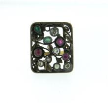 Antique 14K Gold Silver Diamond Ruby Emerald Ring