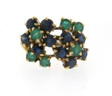 14K Gold Sapphire Emerald Floral Motif Ring