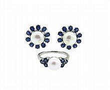 14k Gold Pearl Sapphire Ring Earrings Set
