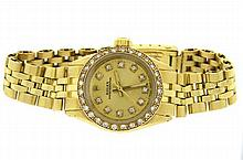 Rolex 18k Gold Oyster Perpetual Diamond Watch ref. 6619