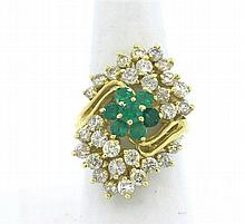 14k Gold Diamond Emerlad Ring