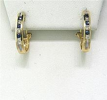 14k Gold Diamond Sapphire Hoop Earrings