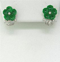 18k Gold Diamond Jade Flower Stud Earrings