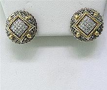 Modern Sterling 18kGold Diamond Earrings
