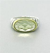 David Yurman Sterling 18k Citrine Cable Ring