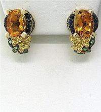 Modern 14k Gold Gemstone Earrings