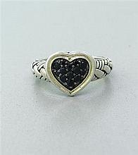 John Hardy Kali Sapphire Sterling Heart Ring