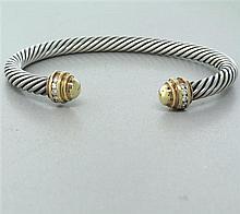 David Yurman Sterling 18k Gold 5mm Cable Diamond Bracelet