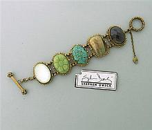 Stephen Dweck Bronze Multi Gemstone Bracelet