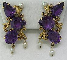18k Gold Amethyst Pearl Earrings