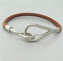 Hermes Stainless Steel  Leather Hook Bracelet