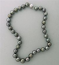 EGL 14k Gold Diamond 11mm to 14.3mm Gray Pearl Necklace