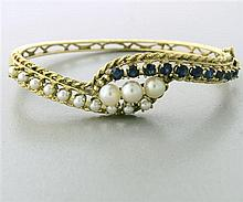 Vintage 14k Gold Pearl Sapphire Bracelet