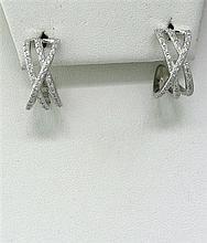 Charriol 18k Gold Diamond Half Hoop Earrings