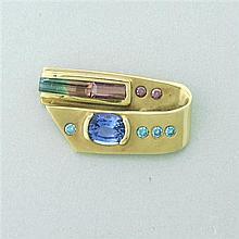 14K Gold Multi Gemstone Slide Pendant