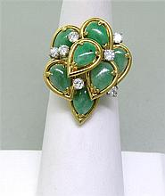 Vintage 18K Gold Diamond Jade Ring