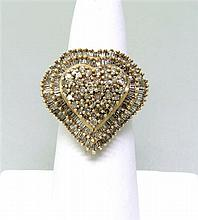 10K Gold Diamond Cluster Heart Ring