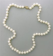 14k Gold 8.5mm to 8.9mm Pearl Necklace
