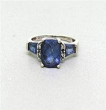 14k Gold Blue Topaz Diamond Ring