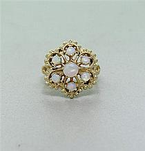 14k Gold Opal Cluster Ring
