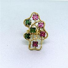 Vintage 18k Gold PInk Green Tourmaline Ring