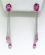 14k Gold Pink Gemstone Drop Earrings