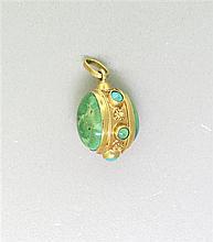Vintage 18k Gold Turquoise 3D Charm Pendant