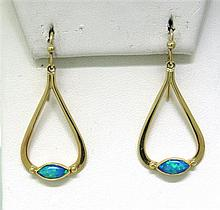 Modern 14k Gold Opal Drop Earrings