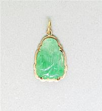 Vintage Asian 14K Gold Jade Pendant