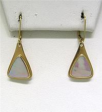 14K Gold Mother of Pearl Dangle Earrings
