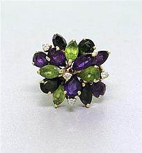 14k Gold Amethyst Peridot Tourmaline Diamond Ring