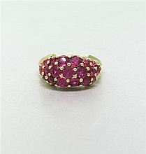 14k Gold Ruby Cluster Ring