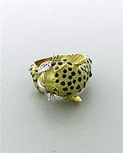 18K Gold Ruby Diamond Enamel Leopard Ring