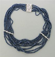 14K Gold Diamond Sapphire Bead Choker Necklace