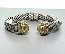 David Yurman Sterling 14k Gold 10mm Cable Bracelet