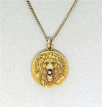 Antique 14k Gold Diamond Lion Locket 10k Necklace