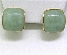 Vintage Asian 14K Gold Green Jade Earrings