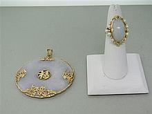 14K Gold Jade Pearl Ring Pendant Lot