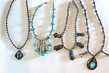 Native American Sterling Turquoise Necklace Lot of 4