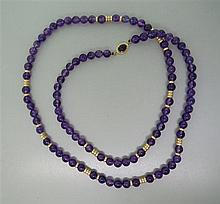 14K Gold Amethyst Bead Necklace